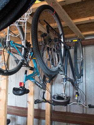 Bike hanging upside down in the off-season storage-rack